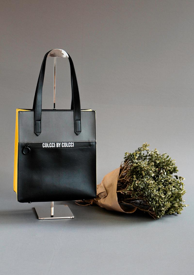 BOLSA SHOPPING BAG ZIPER PRETO/LIMAO COLCCI